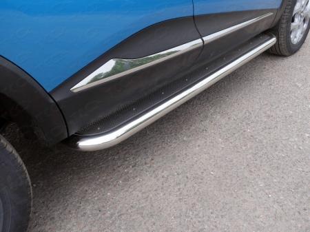 Renault Kaptur 2016- Пороги с площадкой (нерж. лист) 60,3 мм